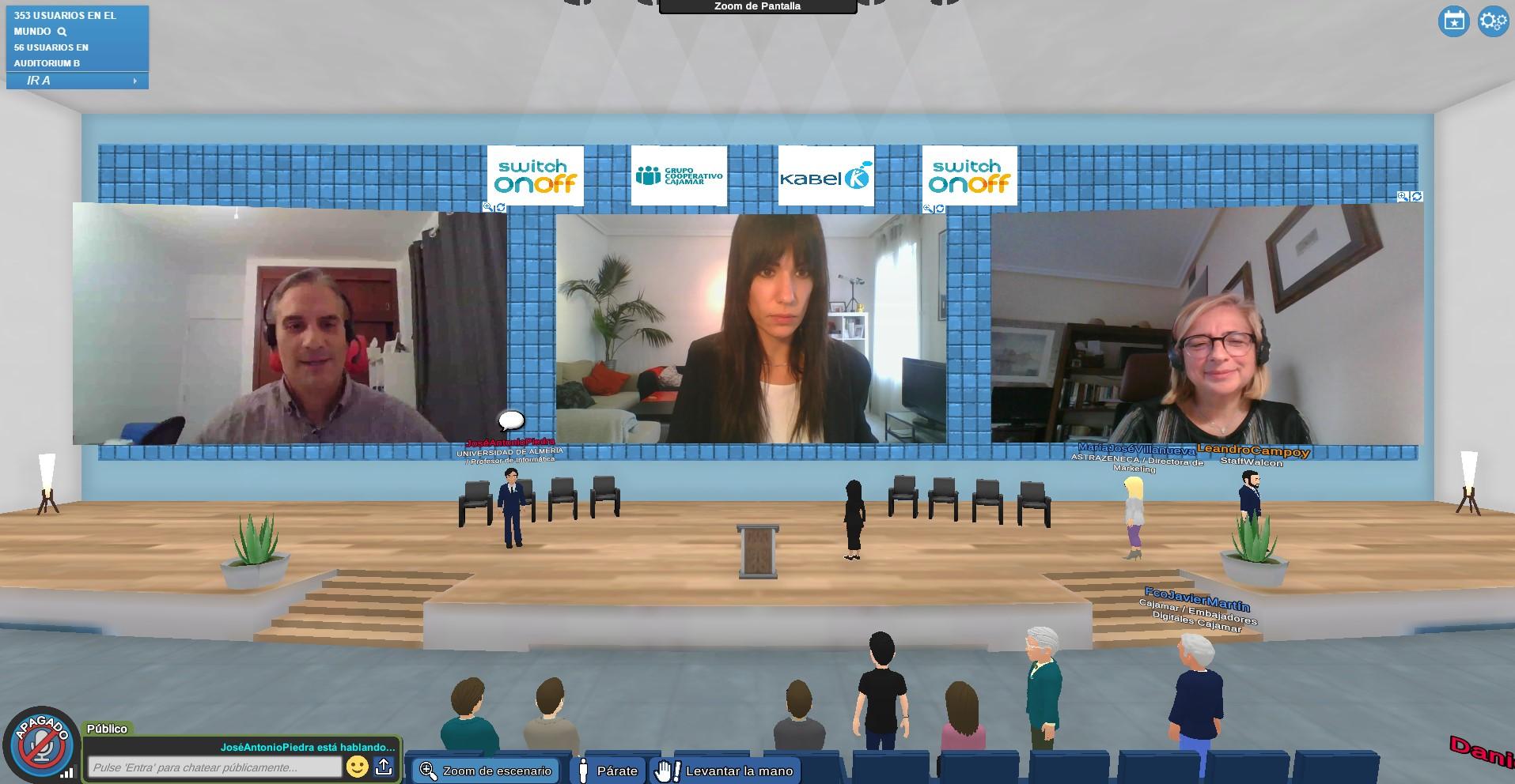 Un momento de la jornada sobre RV, RA y RM celebrado en una plataforma interactiva